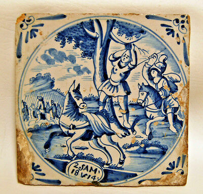 Antique circa 1690 Dutch Delft Biblical Religious Scene 2 SAM 18 verse 14 Tile