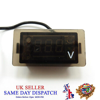 DC 12V-24V Two Wire Waterproof Voltmeter Blue LED Digital Panel Voltage  Car