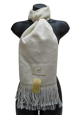 Alpaca Wool Tassel Winter Scarf Unisex Warm Fair Trade Made in Peru Ivory White