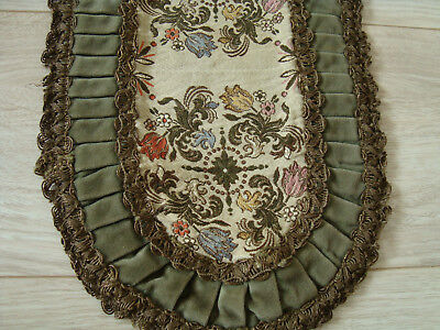 Antique German embroidered velvet decorative Table runner with floral motifs