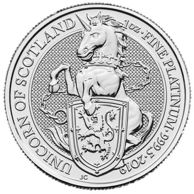 2019 U.K. 100 Pound 1 oz Platinum Queen's Beast BU The Unicorn