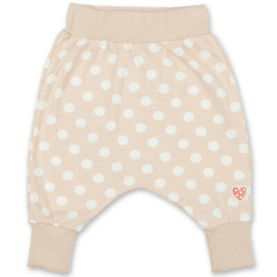 Baby Girl Cotton Harem Trousers Leggings Elasticated Waist Spotted Beige