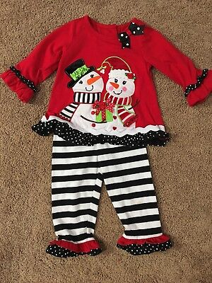 58f0b4d86eb0 GIRLS RARE EDITIONS Size 18 Months Holiday Outfit Christmas Snowmen ...