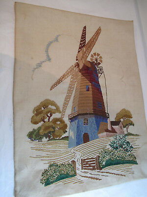 Vintage Hand Embroidered Picture Windmill English Country Side Fields Trees