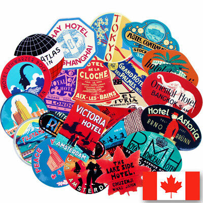 55 Retro travel hotel themed vinyl stickers country countries lot luggage gloss