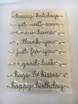 clear rubber stamps Happy Birthday Thank You Get Well New home For You Good Luck