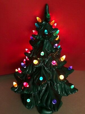 vtg lighted ceramic christmas tree 17 inch w 43 multi color light up bulbs 1966