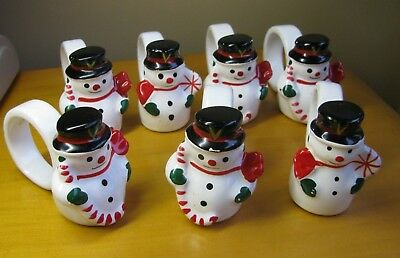 LOT 7 Frosty Snowman Napkin Rings Christmas Ceramic Table Decor VINTAGE Holiday