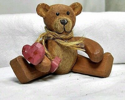 "4"" Vintage Hand Carved Wood Posable Jointed Miniature Teddy Bear"