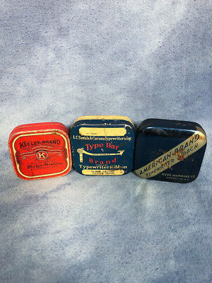 Antique Lot of Three Typewriter Ribbon Tins, 1900s American Brand Kee Lox Brand