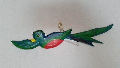 Wooden Quetzal in flight, handmade in Guatemala, roughly 12 inches wide