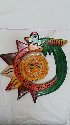 Wooden wall art, Quetzal and Sun, handmade in Guatemala, 11 inches wide