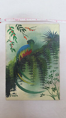 Painting on stretched canvas, Guatemala, Quetzal #2
