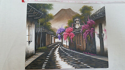 Painting on stretched canvas, Antigua Guatemala, cobblestone, flowers, volcano