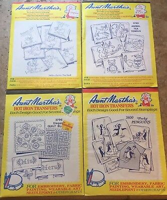Lot of 4 Aunt Martha's Hot Iron Transfers #'s 3400, 3789, 3796, 3800 NEW