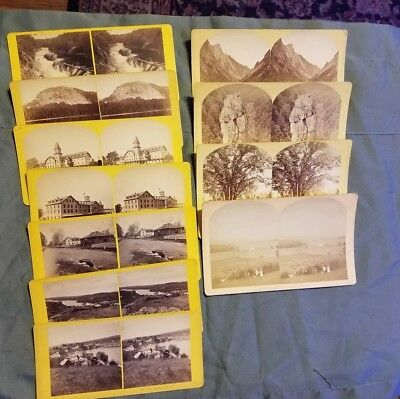 Antique 1800's Mixed Lot of 11 New Hampshire Stereoview Cards by Kilburn (ML8)