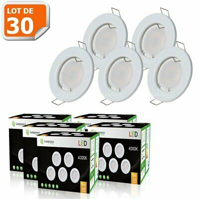 LOT DE 30 SPOT LED ENCASTRABLE COMPLETE RONDE FIXE eq. 50W LUMIERE BLANC NEUTRE