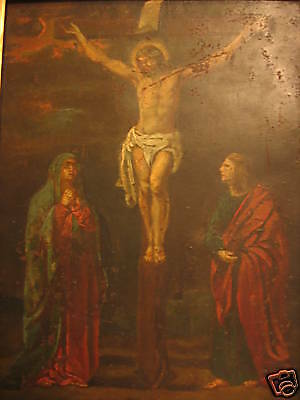 (Antique Mexican Retablo)Christ,juan Bautista Oil On Copper 18Th Century