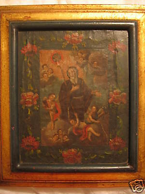 (Antique Mexican Retablo)San Francisco De Paula 18Th Century Oil On Canvas