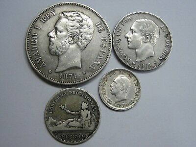 1869 - 1926 Spain 50 Cent +1+2+ 5 Pesetas Lot 4 Coins Differents Silver