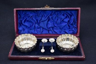 Pair Of Lovely Boxed Antique Silver Plated Salt Cellars  & Spoons- Maker W.j.h