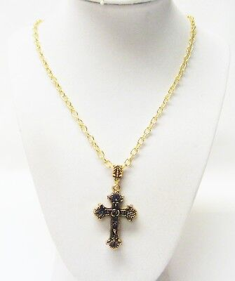 Antique Gold Double Sided Byzantine Cross Pendant Necklace