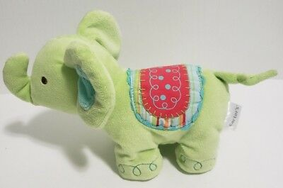 "Carter's Lime Green Circus Elephant Plush Rattle Baby Toy Lovey 8"" EUC"
