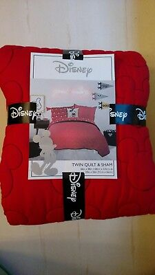 Brand New w/Tags - Disney Mickey Mouse Quilt & Sham Set - Twin Size