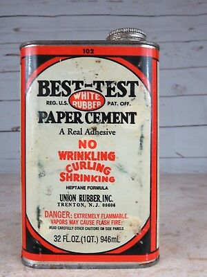 Vintage Best-Test White Rubber Paper Cement Metal Can 32 oz. - Union Rubber, Inc