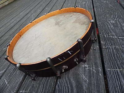 Antique Single Skin Burled Maple Wood 14 5/8 Inch Diameter Drum For Restore Intl
