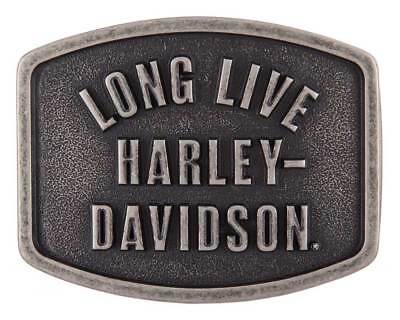 Harley-Davidson Men's Long Live Belt Buckle, Antique Nickle Finish HDMBU11609
