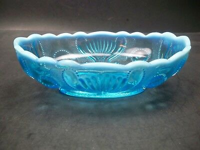 Antique Opalescent Blue Jefferson Glass Jewel and Fan #125 Footed Banana Boat