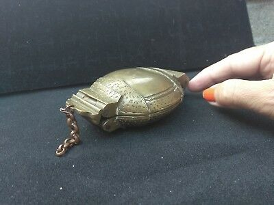 Rare Antique Bronze Lime Box from India! ORIGINAL! 5 inches wide! 17th Century!