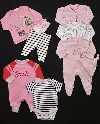 Baby Girls Clothes NEXT X3 Sleepsuits Romper Outfit Hat Upto 7.8lbs First Size