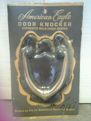 Cast Iron American Bald Eagle Brass Door Knocker SAFE Hardware Vtg NOS +template