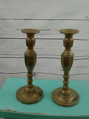 "Vintage Large Pair Brass or Bronze Candlesticks 11"" Heavy Candle Sticks Holders"