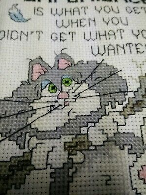 """Vintage Completed Framed  Cross Stitch Experience Hand Stiched 5"""" x 7"""" grey cat"""