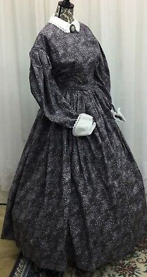 Civil War Day Gown of Gray on Gray small Print, with White Cluny Lace trim