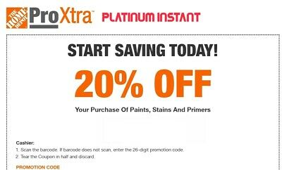 Home Depot 20% Off Paint Stains & Primers 1COUPON-Fast Delivery-InStore 10 days+