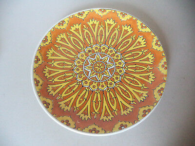 Vintage GREEK CERAMIC HAND MADE Painted Enamel WALL PLATE Plaque RHODES GREECE
