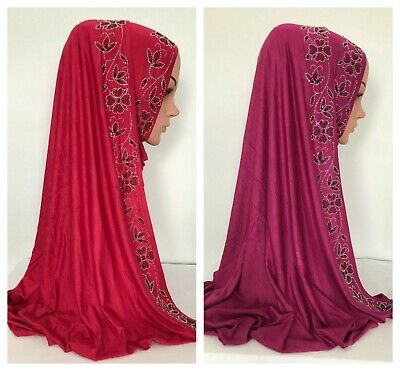 High Quality! Cotton Jersey Scarf with Silver Rhinestones border 170 x 65 cm