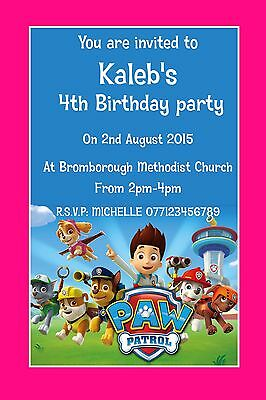 Girls Paw Patrol Birthday Party Personalised Invitations X 8