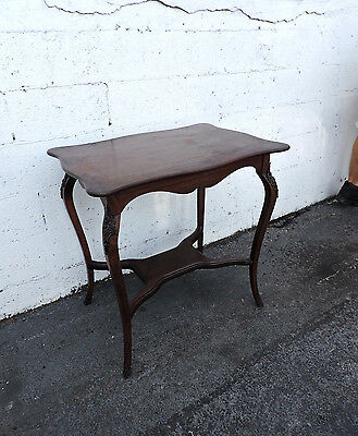 Victorian Early 1900s Solid Cherry Side Table with Brass Bronze Accent  8145