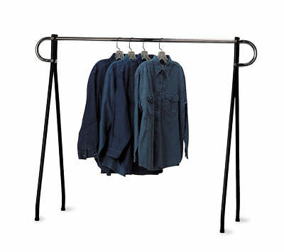 Clothing Rack Black & Chrome Single Rail Retail Storage Garment Salesman 48 x 60