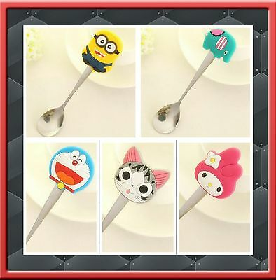 3 x Cute Stainless Steel Children Toddler Feeding Spoon Spoons 5 Designs Minion