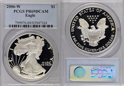 2006-W Pcgs Pr69Dcam .999 Fine Silver American Eagle $1 Coin ! Lovely !