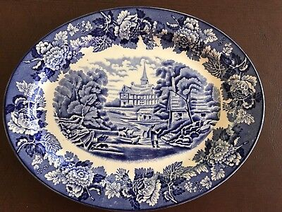 """Enoch Woods English Scenery Blue & White Woods Ware 10"""" oval serving platter"""