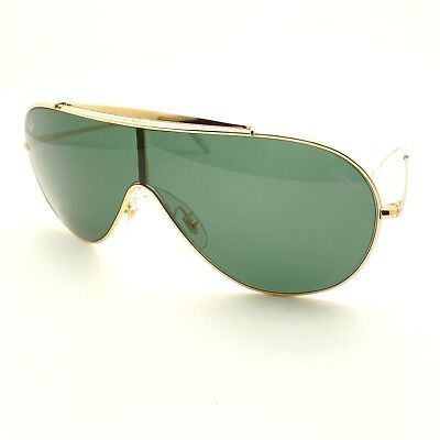58e0d1c283 Ray Ban 3597 9050 71 Gold Green Wings Shield Sunglasses New Authentic