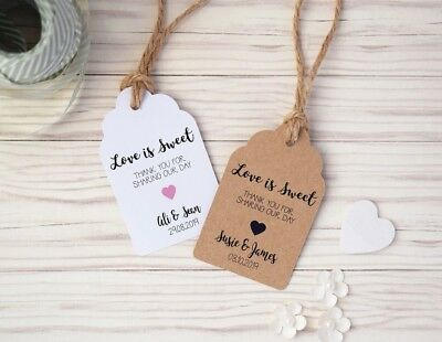Love is Sweet Personalised Wedding Favour Tags with Twine - In White/Kraft/Ivory
