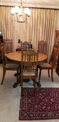 """Antique Round Oak Claw Foot Dining Table 42"""" w/6 chairs Local Pick Up Only"""